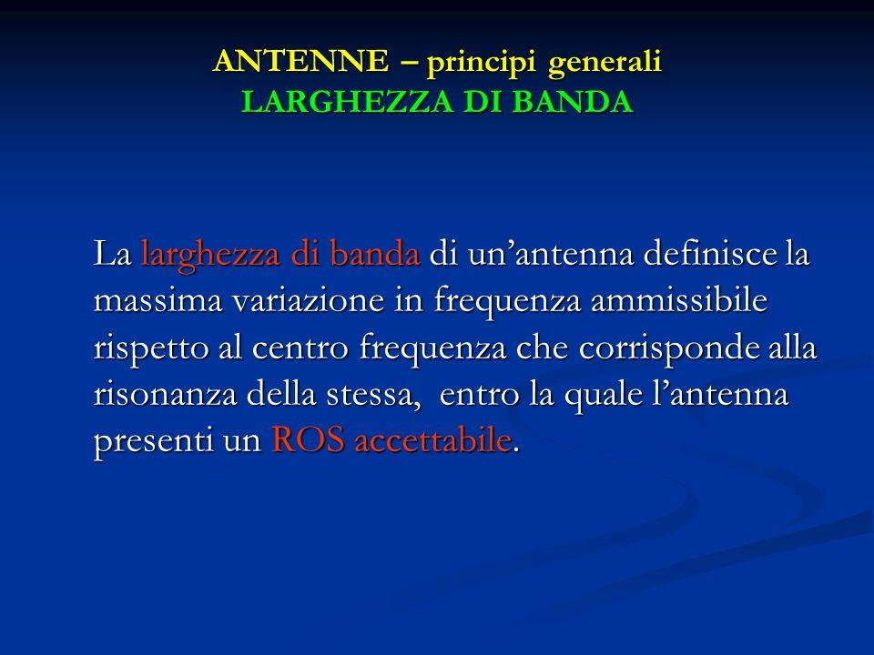 ANTENNE – principi generali LARGHEZZA DI BANDA La larghezza di banda di unantenna definisce la massima variazione in frequenza ammissibile rispetto al