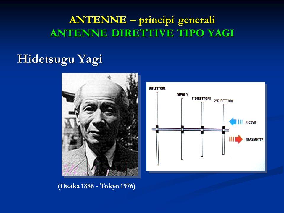 ANTENNE – principi generali ANTENNE DIRETTIVE TIPO YAGI Hidetsugu Yagi (Osaka 1886 - Tokyo 1976)