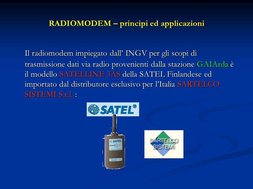 RADIOMODEM – principi ed applicazioni Il radiomodem impiegato dall INGV per gli scopi di trasmissione dati via radio provenienti dalla stazione GAIArd