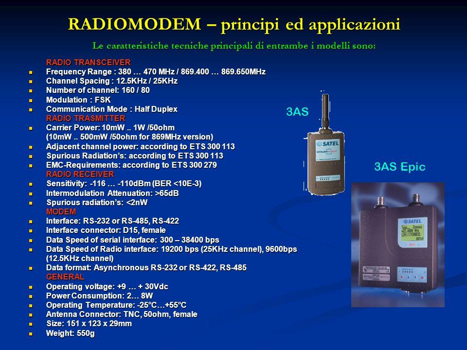 RADIOMODEM – principi ed applicazioni Le caratteristiche tecniche principali di entrambe i modelli sono: RADIO TRANSCEIVER Frequency Range : 380 … 470
