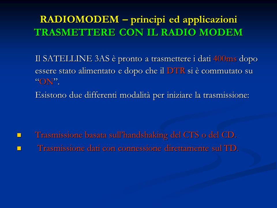 RADIOMODEM – principi ed applicazioni TRASMETTERE CON IL RADIO MODEM Il SATELLINE 3AS è pronto a trasmettere i dati 400ms dopo essere stato alimentato