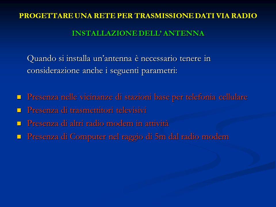 PROGETTARE UNA RETE PER TRASMISSIONE DATI VIA RADIO INSTALLAZIONE DELL ANTENNA Quando si installa unantenna è necessario tenere in considerazione anch