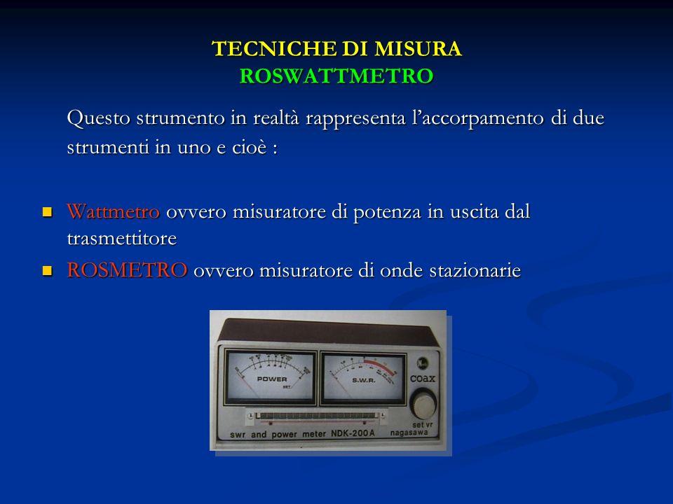 TECNICHE DI MISURA ROSWATTMETRO Questo strumento in realtà rappresenta laccorpamento di due strumenti in uno e cioè : Wattmetro ovvero misuratore di p