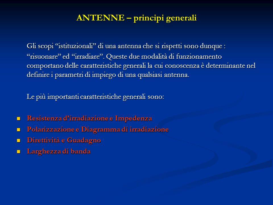 Gli scopi istituzionali di una antenna che si rispetti sono dunque : risuonare ed irradiare. Queste due modalità di funzionamento comportano delle car