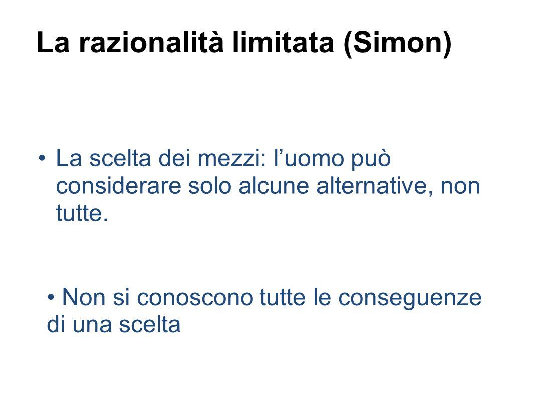 La razionalità limitata (Simon) La scelta dei mezzi: luomo può considerare solo alcune alternative, non tutte.