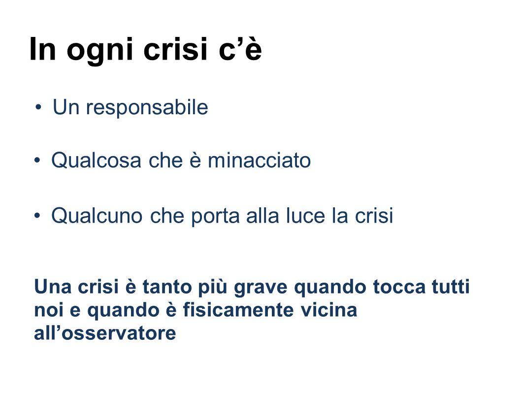 In ogni crisi cè Un responsabile Una crisi è tanto più grave quando tocca tutti noi e quando è fisicamente vicina allosservatore Qualcosa che è minacciato Qualcuno che porta alla luce la crisi