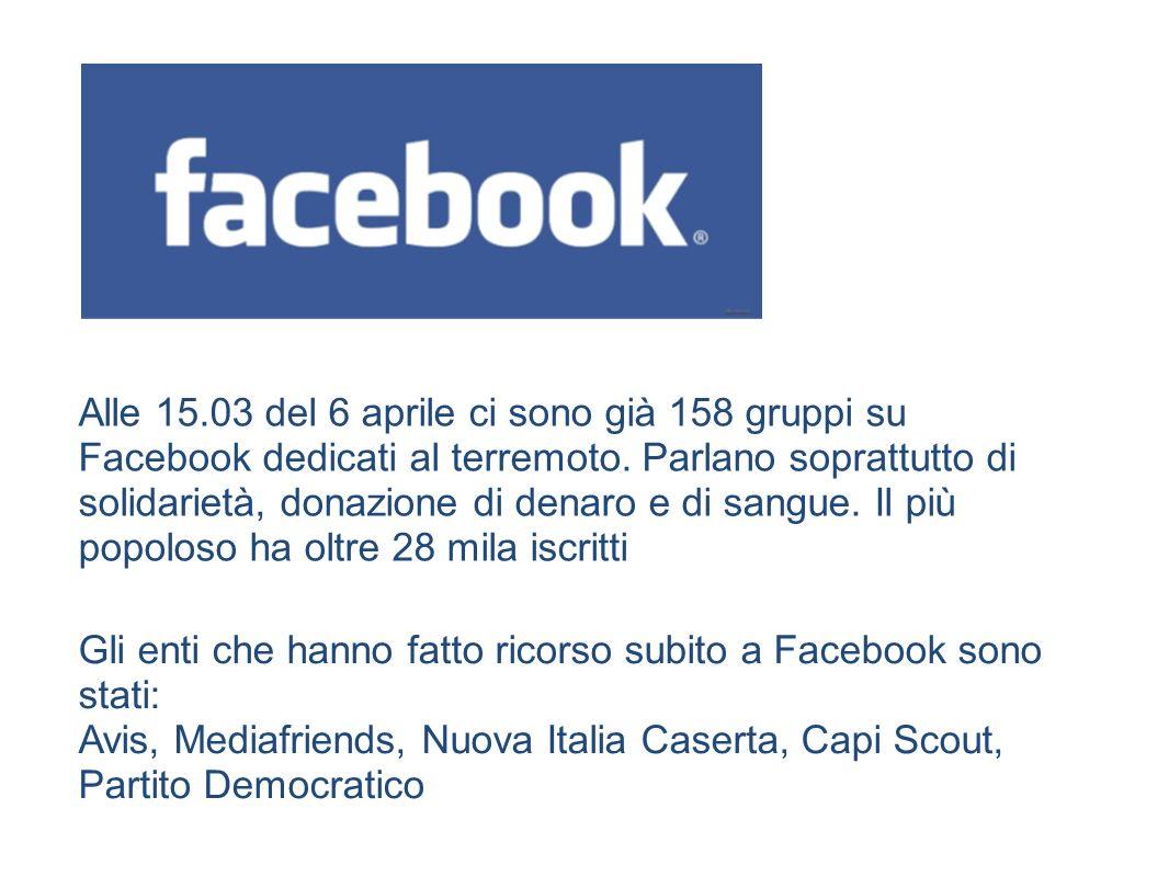 Alle 15.03 del 6 aprile ci sono già 158 gruppi su Facebook dedicati al terremoto.