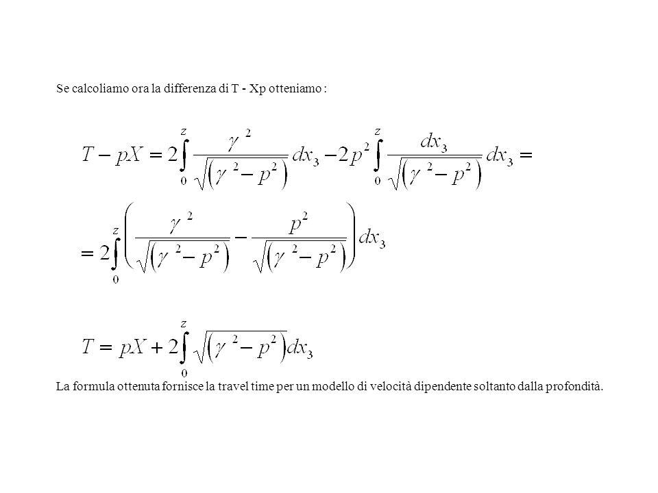 Se calcoliamo ora la differenza di T - Xp otteniamo : La formula ottenuta fornisce la travel time per un modello di velocità dipendente soltanto dalla