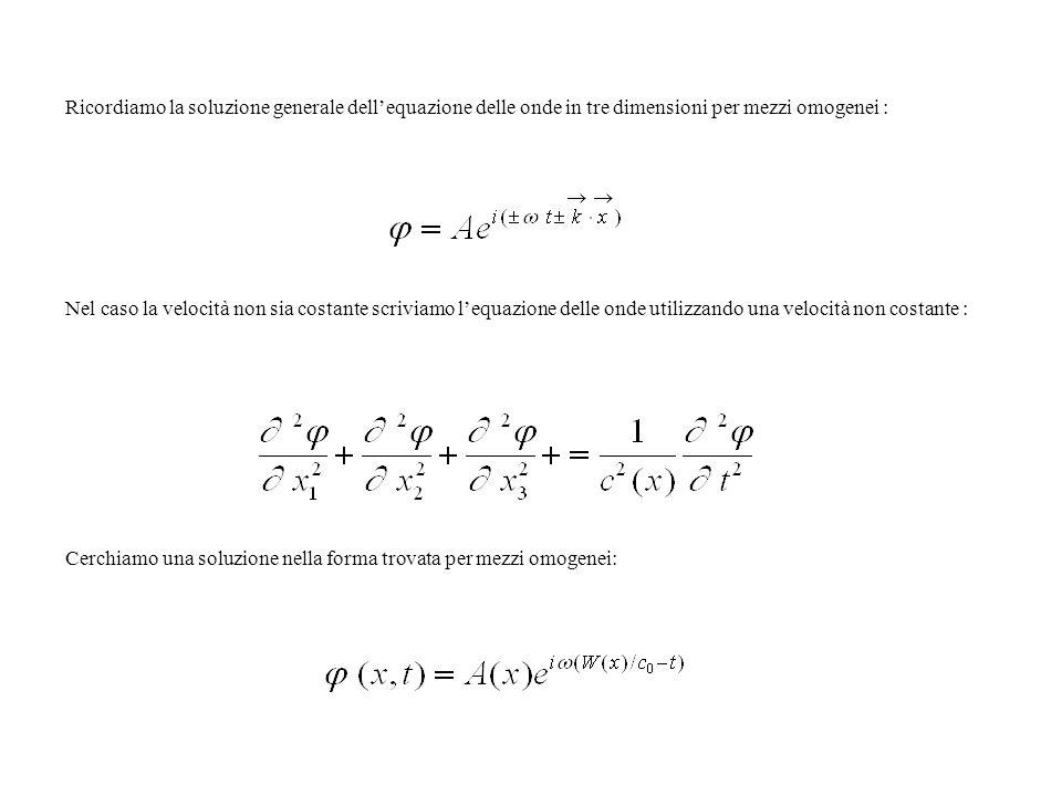 Ricordiamo la soluzione generale dellequazione delle onde in tre dimensioni per mezzi omogenei : Nel caso la velocità non sia costante scriviamo lequa