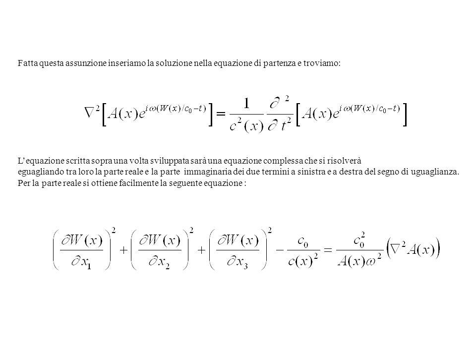 Fatta questa assunzione inseriamo la soluzione nella equazione di partenza e troviamo: Lequazione scritta sopra una volta sviluppata sarà una equazion