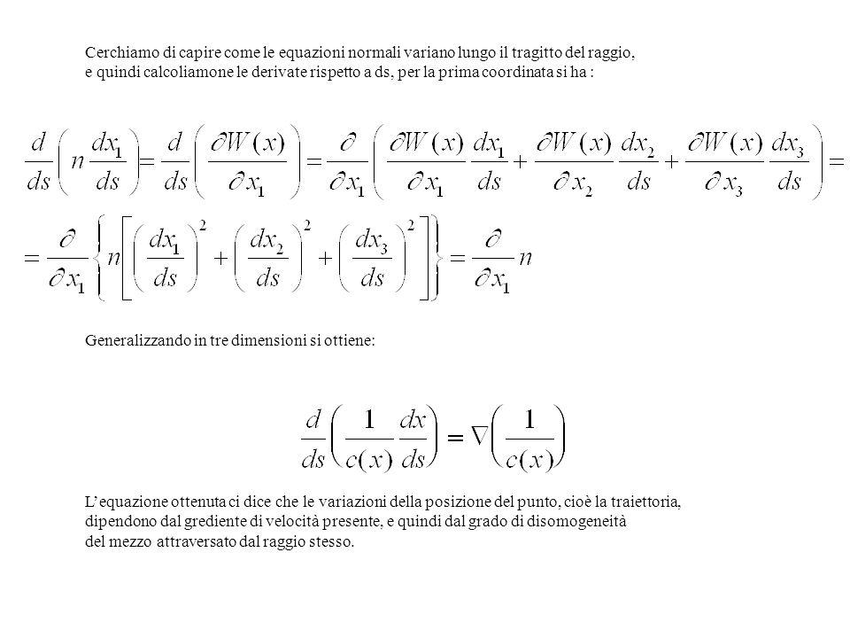 Cerchiamo di capire come le equazioni normali variano lungo il tragitto del raggio, e quindi calcoliamone le derivate rispetto a ds, per la prima coor