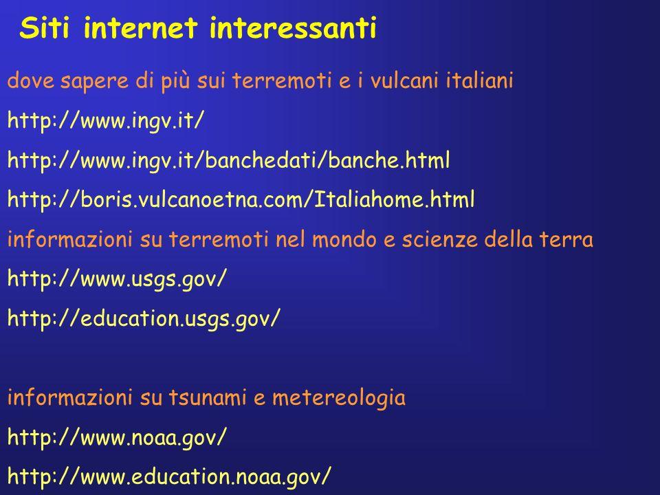 Siti internet interessanti dove sapere di più sui terremoti e i vulcani italiani http://www.ingv.it/ http://www.ingv.it/banchedati/banche.html http://