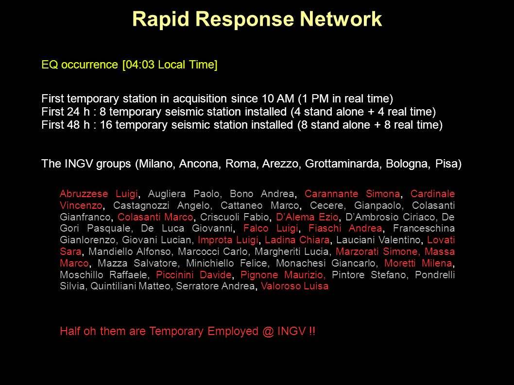 Rapid Response Network First temporary station in acquisition since 10 AM (1 PM in real time) First 24 h : 8 temporary seismic station installed (4 st
