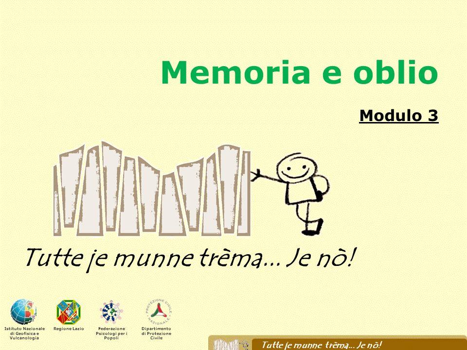 Memoria e oblio Modulo 3 Tutte je munne trèma... Je nò! Istituto Nazionale di Geofisica e Vulcanologia Regione LazioFederazione Psicologi per i Popoli