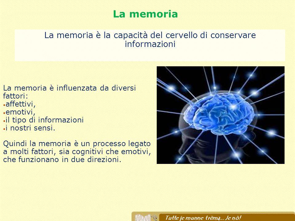 La memoria La memoria è la capacità del cervello di conservare informazioni La memoria è influenzata da diversi fattori: affettivi, emotivi, il tipo d