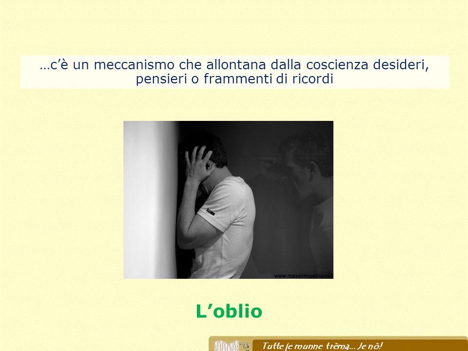 Loblio …cè un meccanismo che allontana dalla coscienza desideri, pensieri o frammenti di ricordi