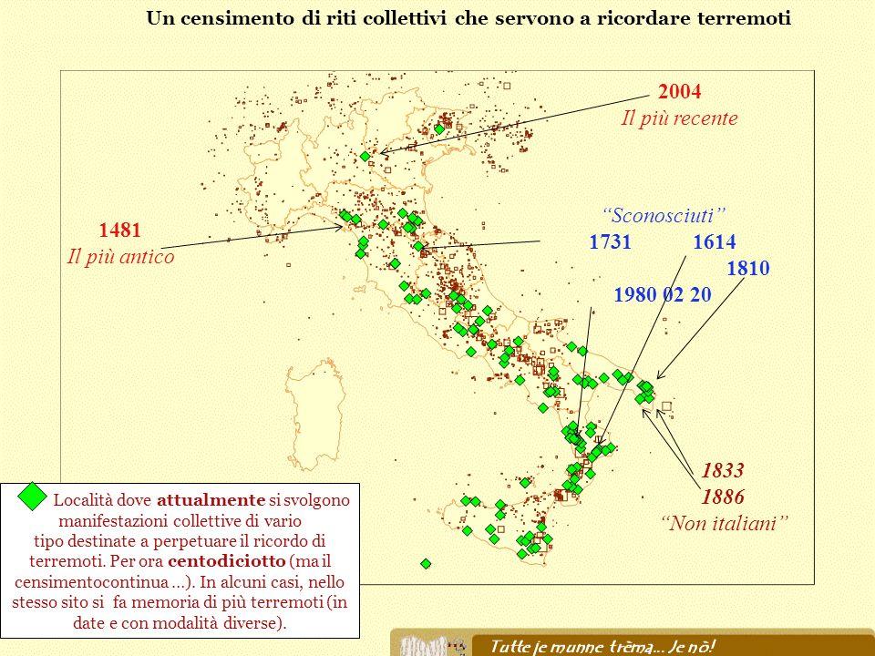 … 2004 Il più recente 1481 Il più antico Località dove attualmente si svolgono manifestazioni collettive di vario tipo destinate a perpetuare il ricor