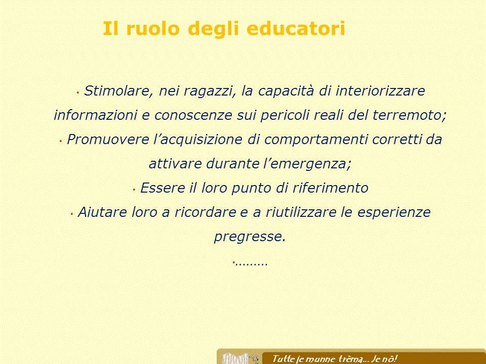 Il ruolo degli educatori Stimolare, nei ragazzi, la capacità di interiorizzare informazioni e conoscenze sui pericoli reali del terremoto; Promuovere