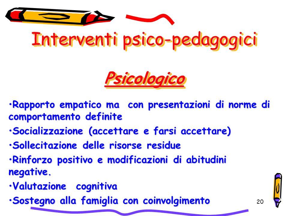 20 Interventi psico-pedagogici Psicologico Rapporto empatico ma con presentazioni di norme di comportamento definiteRapporto empatico ma con presentaz