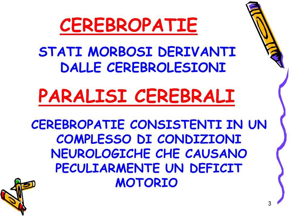 3 CEREBROPATIE STATI MORBOSI DERIVANTI DALLE CEREBROLESIONI PARALISI CEREBRALI CEREBROPATIE CONSISTENTI IN UN COMPLESSO DI CONDIZIONI NEUROLOGICHE CHE