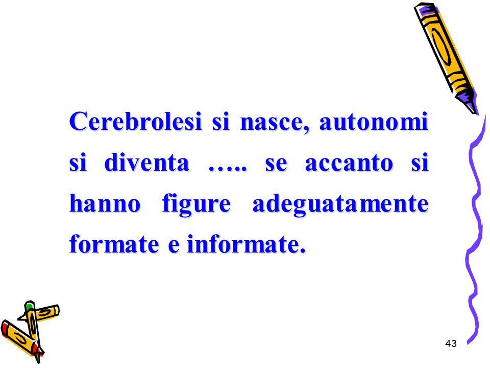 43 Cerebrolesi si nasce, autonomi si diventa ….. se accanto si hanno figure adeguatamente formate e informate.