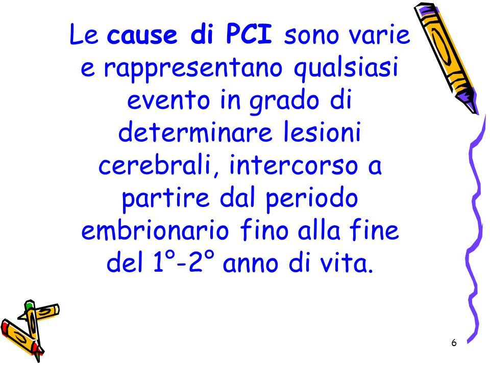 6 Le cause di PCI sono varie e rappresentano qualsiasi evento in grado di determinare lesioni cerebrali, intercorso a partire dal periodo embrionario