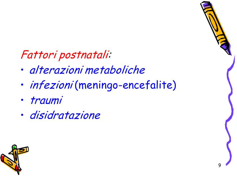 9 Fattori postnatali: alterazioni metaboliche infezioni (meningo-encefalite) traumi disidratazione