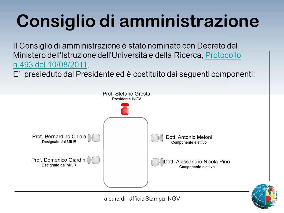 a cura di: Ufficio Stampa INGV Consiglio di amministrazione Il Consiglio di amministrazione è stato nominato con Decreto del Ministero dell Istruzione dell Università e della Ricerca, Protocollo n.493 del 10/08/2011.