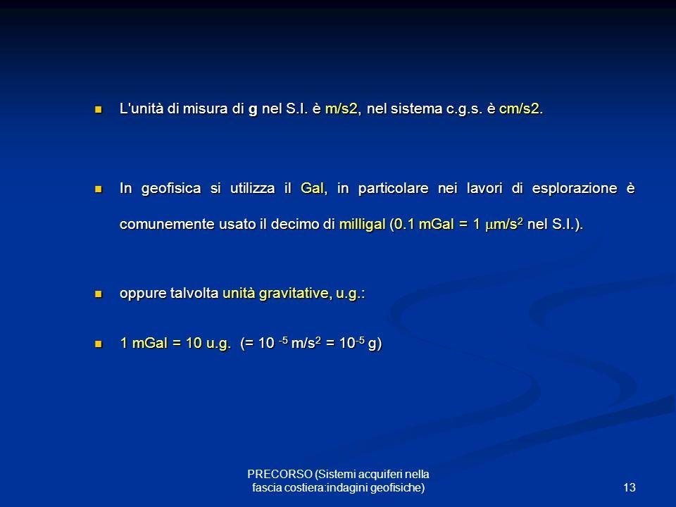13 PRECORSO (Sistemi acquiferi nella fascia costiera:indagini geofisiche) L unità di misura di g nel S.I.