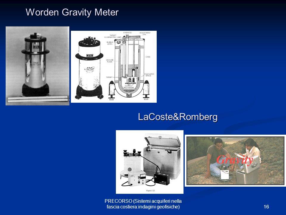 16 PRECORSO (Sistemi acquiferi nella fascia costiera:indagini geofisiche) Worden Gravity Meter LaCoste&Romberg