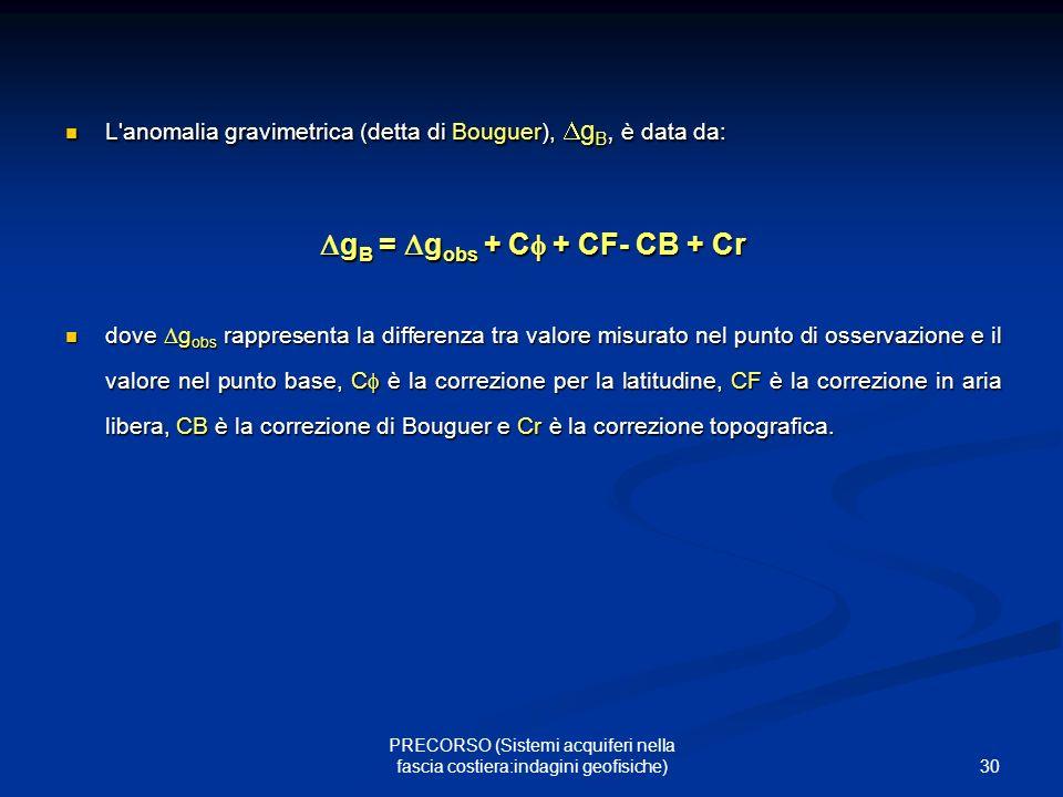 30 PRECORSO (Sistemi acquiferi nella fascia costiera:indagini geofisiche) L anomalia gravimetrica (detta di Bouguer), gB, è data da: gB = gobs + C + CF- CB + Cr dove gobs rappresenta la differenza tra valore misurato nel punto di osservazione e il valore nel punto base, C è la correzione per la latitudine, CF è la correzione in aria libera, CB è la correzione di Bouguer e Cr è la correzione topografica.
