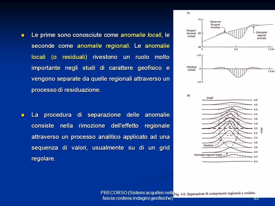 33 PRECORSO (Sistemi acquiferi nella fascia costiera:indagini geofisiche) Le prime sono conosciute come anomalie locali, le seconde come anomalie regionali.