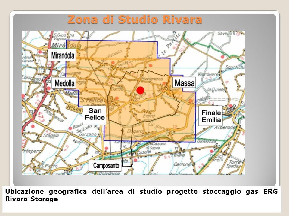 Zona di Studio Rivara Ubicazione geografica dellarea di studio progetto stoccaggio gas ERG Rivara Storage