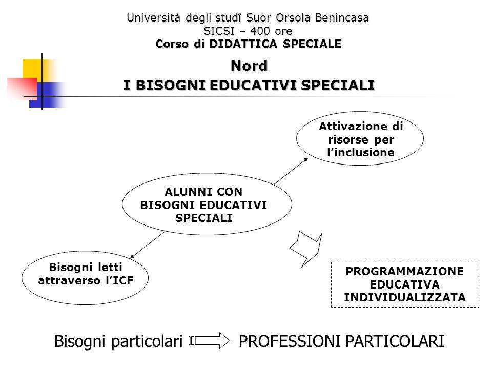 Università degli studî Suor Orsola Benincasa SICSI – 400 ore Corso di DIDATTICA SPECIALE Nord I BISOGNI EDUCATIVI SPECIALI Bisogni particolari PROFESS