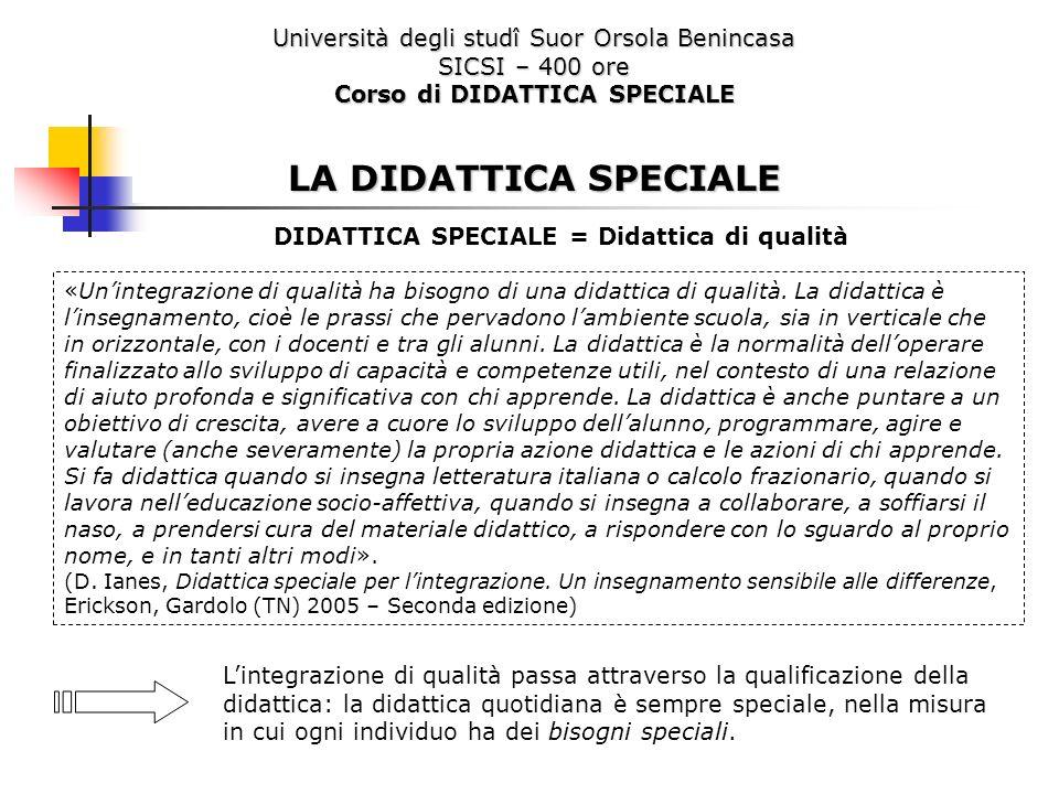 Università degli studî Suor Orsola Benincasa SICSI – 400 ore Corso di DIDATTICA SPECIALE LA DIDATTICA SPECIALE «Unintegrazione di qualità ha bisogno d