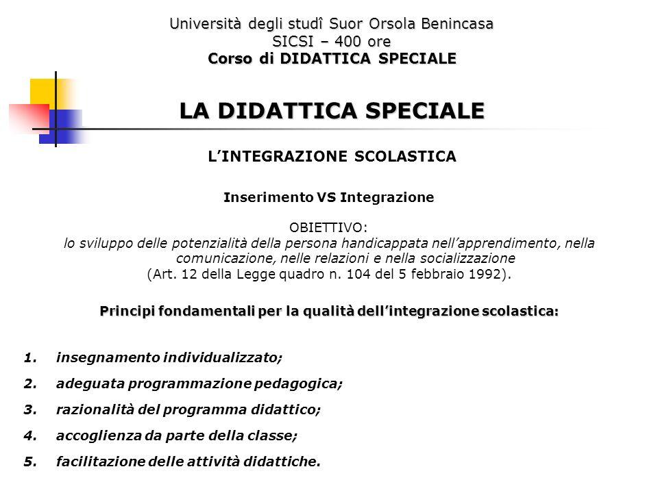 Università degli studî Suor Orsola Benincasa SICSI – 400 ore Corso di DIDATTICA SPECIALE LA DIDATTICA SPECIALE LINTEGRAZIONE SCOLASTICA Inserimento VS