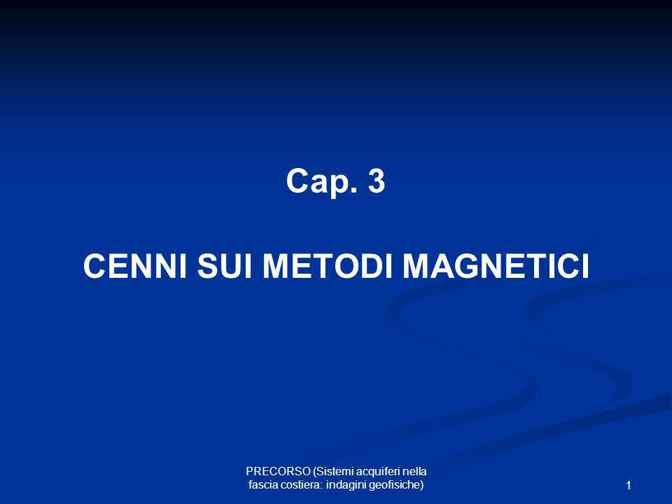 12 PRECORSO (Sistemi acquiferi nella fascia costiera: indagini geofisiche) Campo magnetico terrestre componenti del vettore campo F – vettore campo H – componente orizzontale Z – componente verticale I – inclinazione D - declinazione alle nostre latitudini F vale circa 45.000 nT ed ha inclinazione di circa 60°.