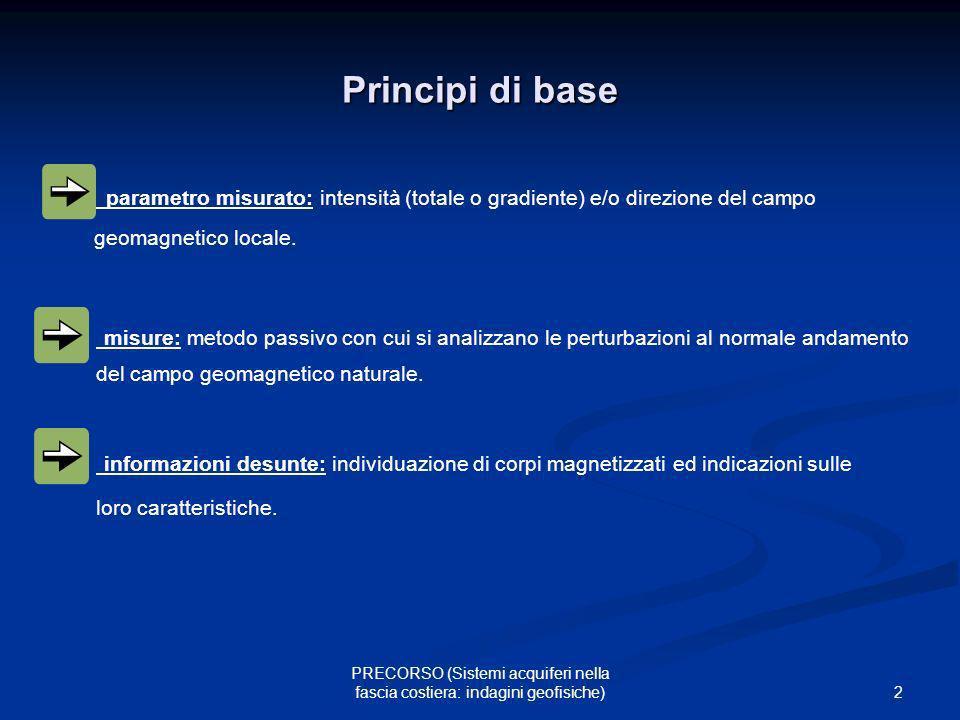 2 PRECORSO (Sistemi acquiferi nella fascia costiera: indagini geofisiche) Principi di base parametro misurato: intensità (totale o gradiente) e/o dire