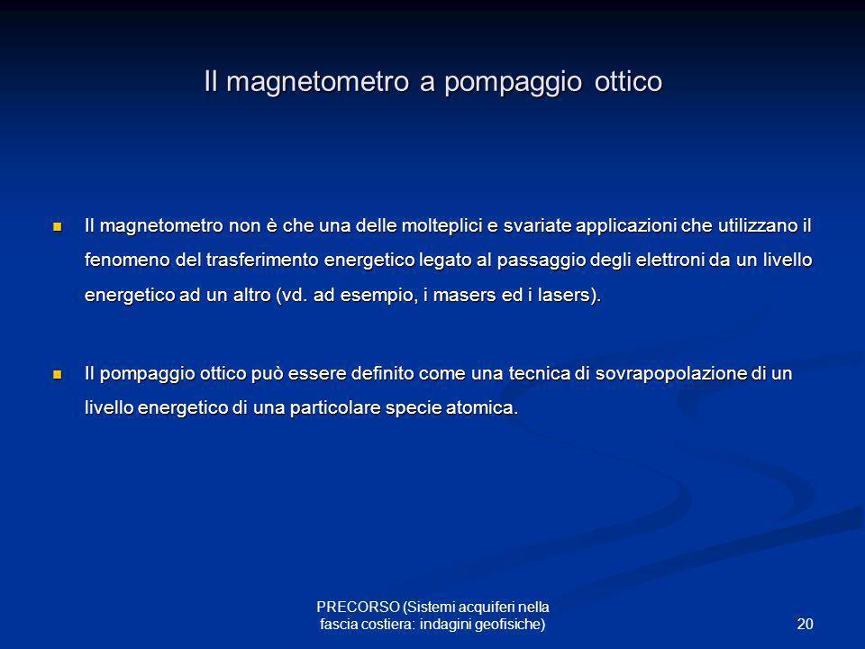 20 PRECORSO (Sistemi acquiferi nella fascia costiera: indagini geofisiche) Il magnetometro a pompaggio ottico Il magnetometro non è che una delle molt