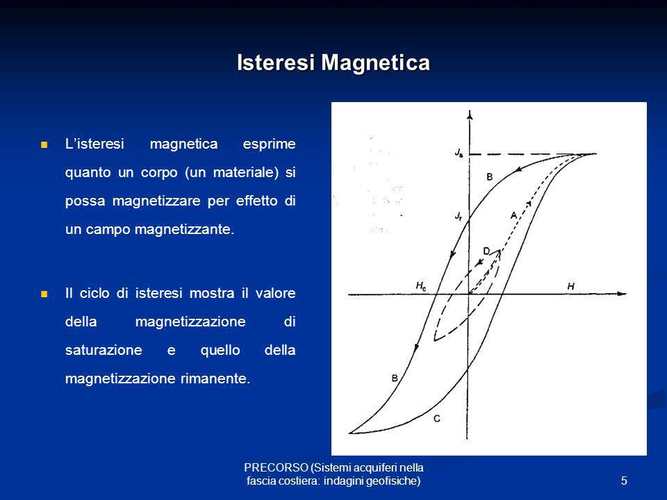 6 PRECORSO (Sistemi acquiferi nella fascia costiera: indagini geofisiche) CMT: variazioni temporali a)variazioni di origine interna: causate da migrazione dei poli, deriva dei continenti, fluttuazione della rotazione terrestre (secolari, continue seppur non regolari) (fino a 100 nT/anno) b) variazioni di origine esterna: 1.pulsazioni (con periodo dell ordine dei secondi); 2.baie (con periodo di qualche ora); 3.semidiurne; 4.diurne o solari; 5.lunari (con periodo di 27 giorni); 6.dovute alle macchie solari (con lo stesso periodo con cui si presentano le macchie solari; 7.tempeste magnetiche;