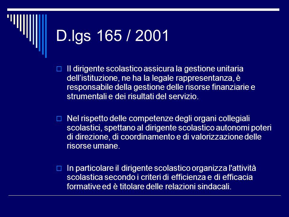 D.lgs 165 / 2001 Il dirigente scolastico assicura la gestione unitaria dellistituzione, ne ha la legale rappresentanza, è responsabile della gestione delle risorse finanziarie e strumentali e dei risultati del servizio.