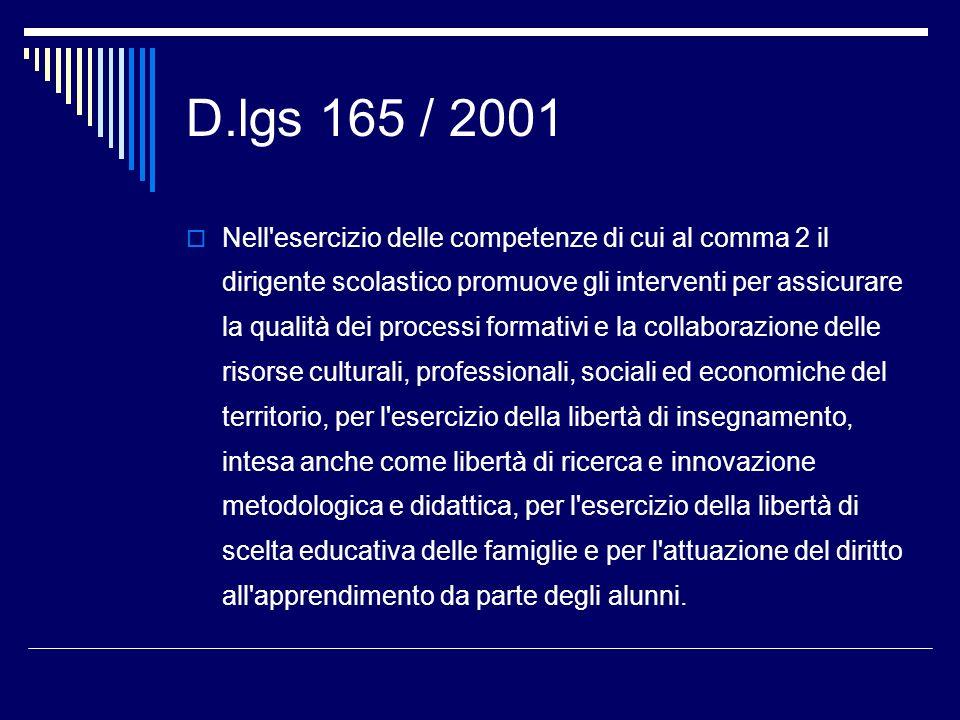 D.lgs 165 / 2001 Nell ambito delle funzioni attribuite alle istituzioni scolastiche, spetta al dirigente l adozione dei provvedimenti di gestione delle risorse e del personale.