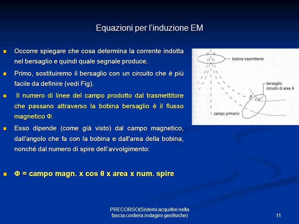 11 PRECORSO(Sistemi acquiferi nella fascia costiera:indagini geofisiche) Equazioni per linduzione EM Occorre spiegare che cosa determina la corrente indotta nel bersaglio e quindi quale segnale produce.