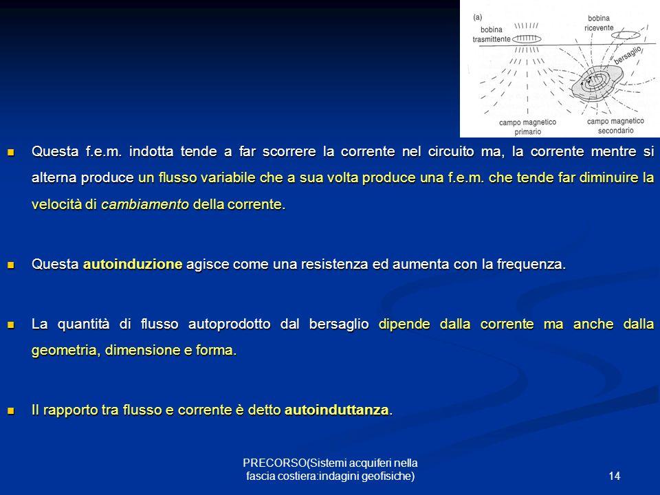 14 PRECORSO(Sistemi acquiferi nella fascia costiera:indagini geofisiche) Questa f.e.m.