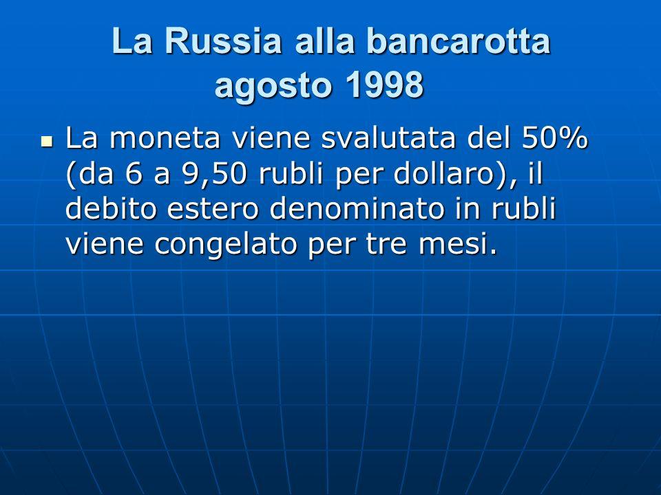 La Russia alla bancarotta agosto 1998 La Russia alla bancarotta agosto 1998 La moneta viene svalutata del 50% (da 6 a 9,50 rubli per dollaro), il debi