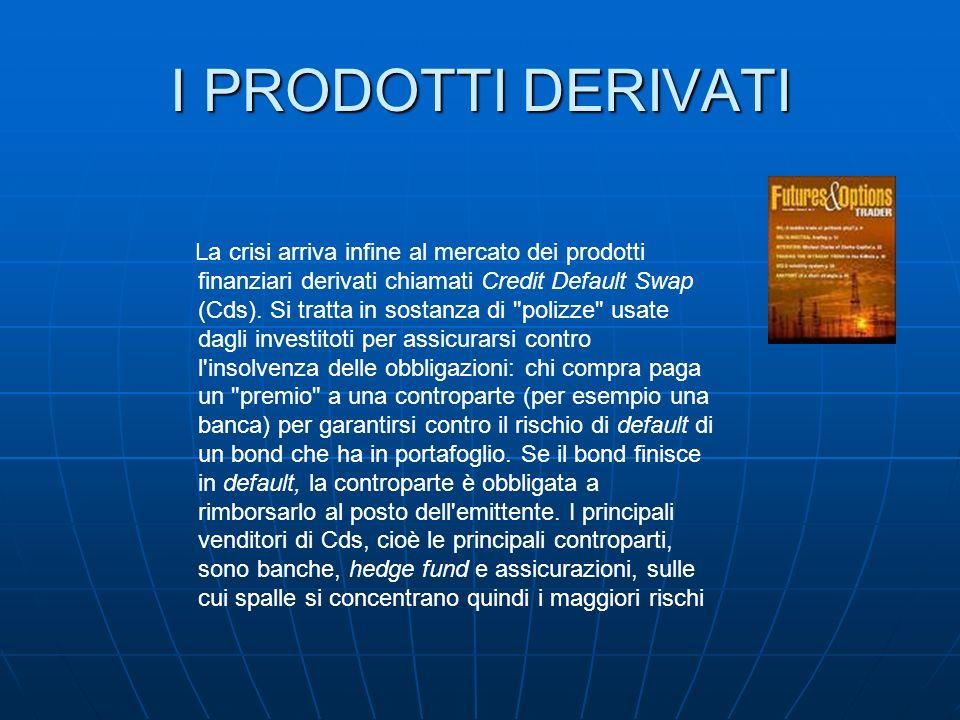 I PRODOTTI DERIVATI La crisi arriva infine al mercato dei prodotti finanziari derivati chiamati Credit Default Swap (Cds). Si tratta in sostanza di