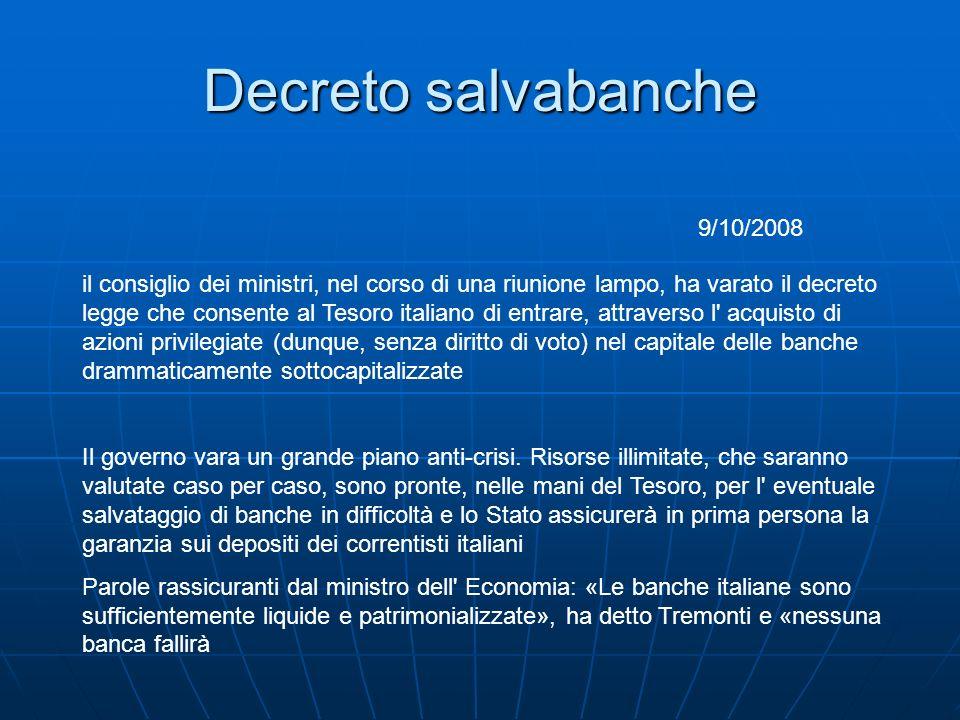Decreto salvabanche il consiglio dei ministri, nel corso di una riunione lampo, ha varato il decreto legge che consente al Tesoro italiano di entrare,