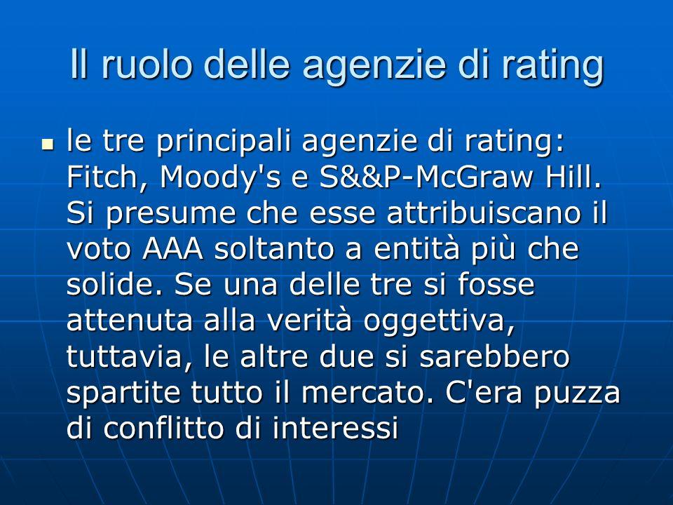 Il ruolo delle agenzie di rating le tre principali agenzie di rating: Fitch, Moody's e S&&P-McGraw Hill. Si presume che esse attribuiscano il voto AAA