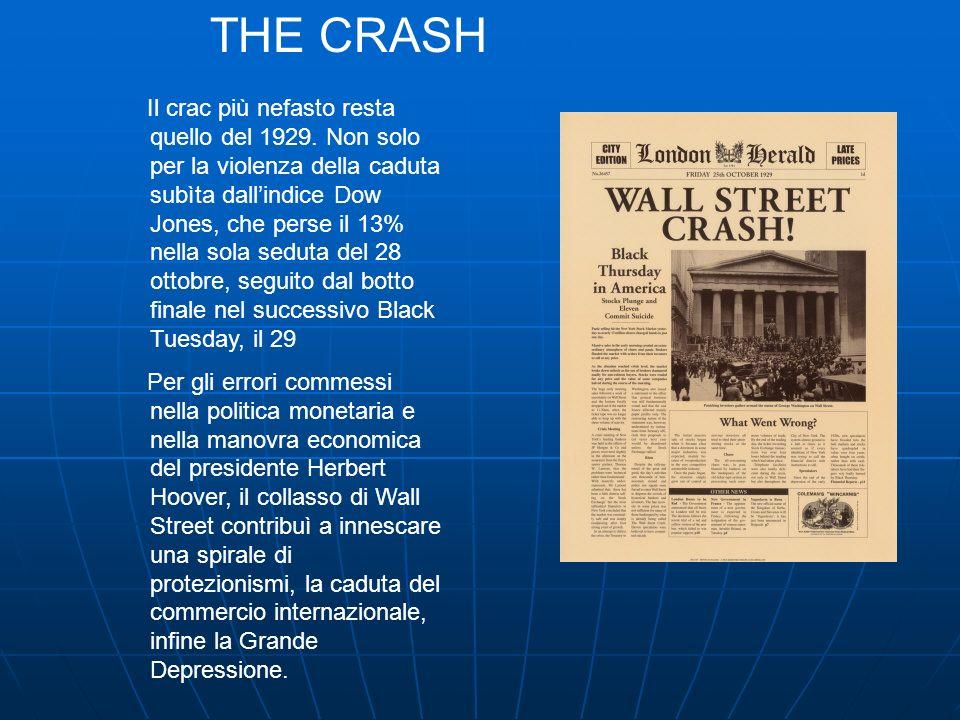 Il crac più nefasto resta quello del 1929. Non solo per la violenza della caduta subìta dallindice Dow Jones, che perse il 13% nella sola seduta del 2