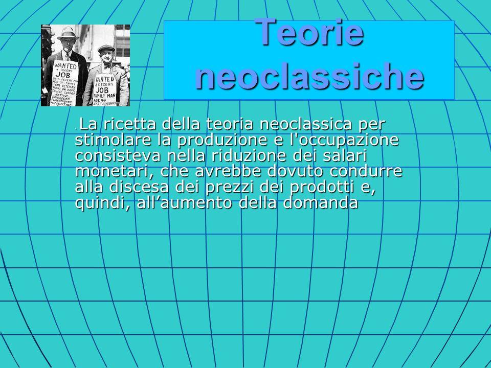 . La ricetta della teoria neoclassica per stimolare la produzione e l'occupazione consisteva nella riduzione dei salari monetari, che avrebbe dovuto c